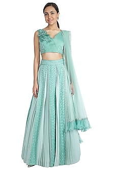 Sea Green Embroidered Lehenga Set by Show Shaa