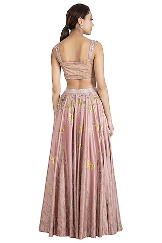 Rose Pink Printed Embroidered Lehenga Set by Show Shaa