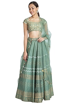 Olive Green Embellished Printed Lehenga Set by Show Shaa