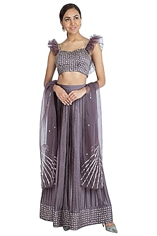Plum Purple Embroidered Printed Lehenga Set by Show Shaa
