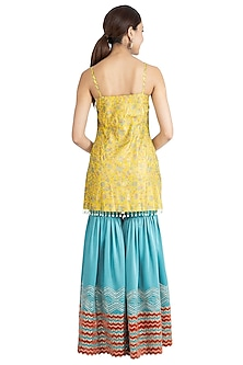 Yellow & Sea Blue Printed Embellished Gharara Set by Show Shaa