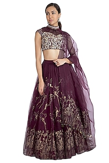 Wine Embellished Printed Lehenga Set by Show Shaa