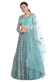 Aqua Blue Printed Embroidered Lehenga Set by Show Shaa