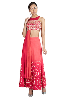 Pink Printed Embroidered Crop Top With Sharara Pants by Show Shaa