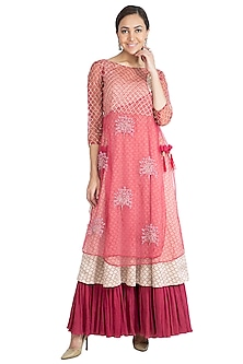 Berry Pink Embroidered Printed Anarkali Kurta With Pants by Show Shaa