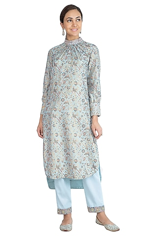 Ice Blue Block Printed Kurta With Embroidered Pants by Show Shaa