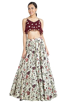 Ivory Printed Skirt With Wine Embroidered Blouse by Show Shaa