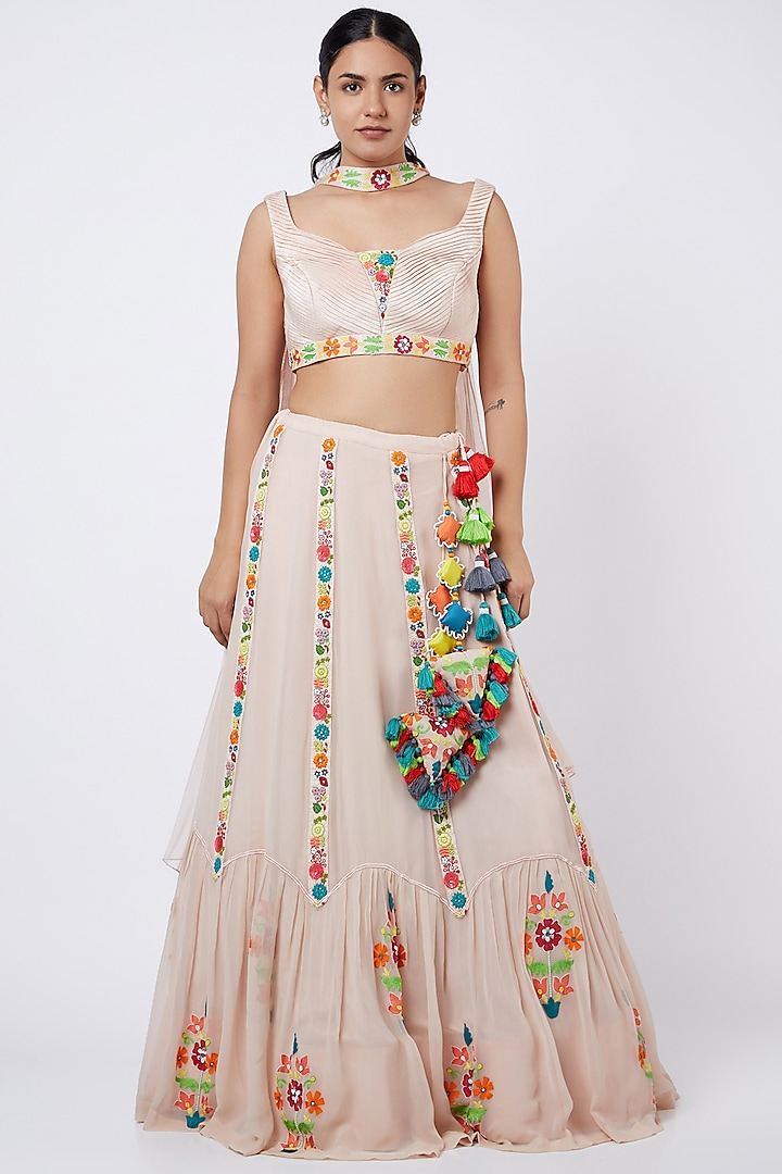 Blush Pink Sequins Embroidered Lehenga Set by Shweta Aggarwal