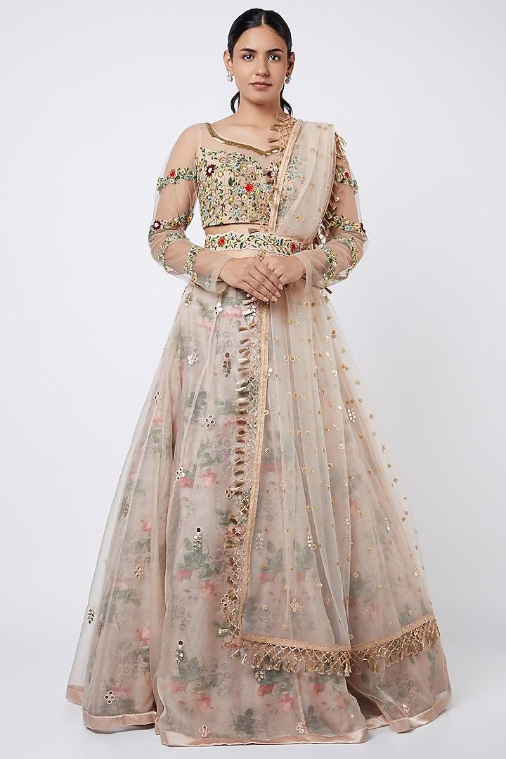 Nude Embroidered & Floral Printed Lehenga Set by Shweta Aggarwal