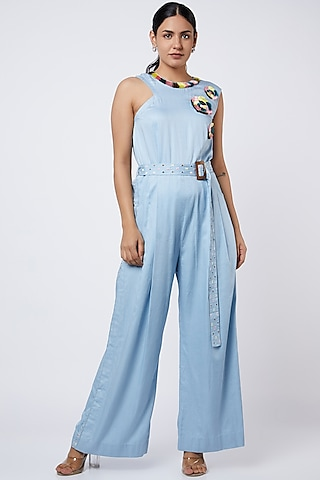 Powder Blue Embroidered Jumpsuit by Shweta Agrawal