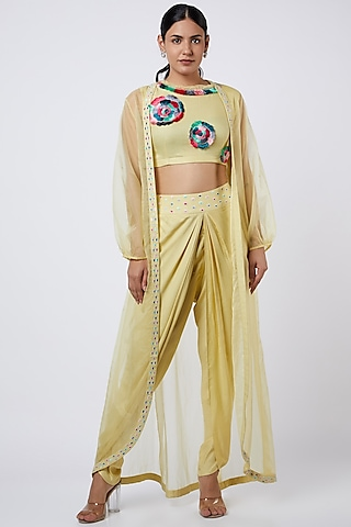 Corn Yellow Dhoti Set With Embroidered Crop Top by Shweta Agrawal