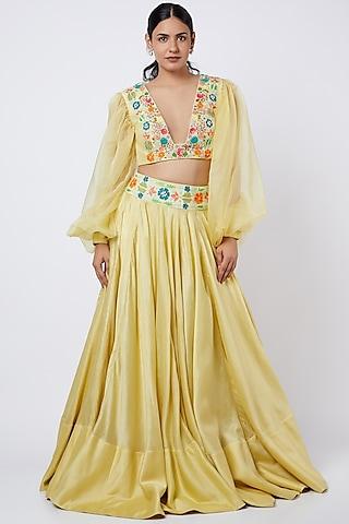 Corn Yellow Embroidered Lehenga Set by Shweta Agrawal
