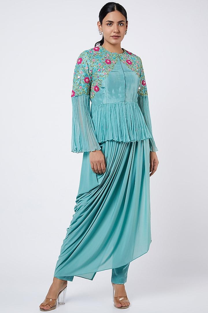 Aqua Blue Embroidered Peplum Tunic Set by Shweta Aggarwal