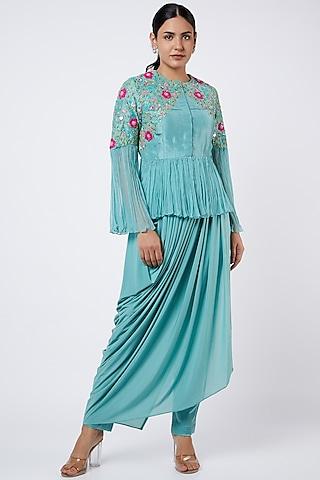 Aqua Blue Embroidered Peplum Tunic Set by Shweta Agrawal