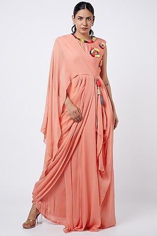 Neon Peach Georgette Draped Dress by Shweta Agrawal