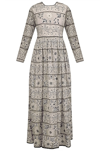 White Striped Bandhani Long Dress by Shasha Gaba