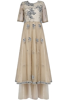 Nude Embroidered Pleated Maxi Dress by Shasha Gaba