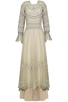 Nude Lakhnavi Embroidered Dress by Shasha Gaba