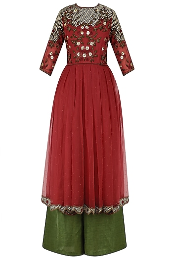 Rose Red Embroidered Kurta with Olive Green Palazzo Pants by Shasha Gaba