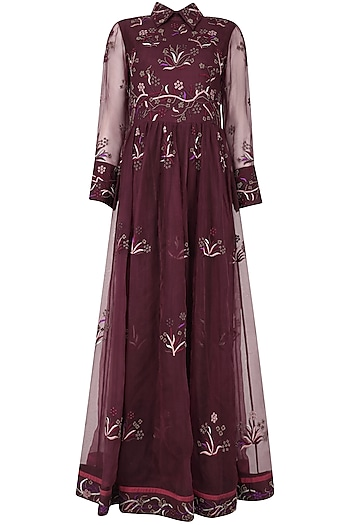 Wine Floral Embroidered Magical Jungle Tunic by Shasha Gaba
