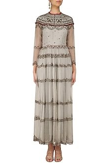 Grey and Gold Beads Embroidered Tunic by Shasha Gaba