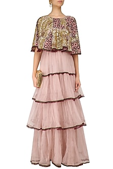 Lavender Pink Floral Embroidered Layered Tunic by Shasha Gaba