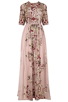 Lavender Pink Floral Embroidered Wild Orchid Tunic by Shasha Gaba