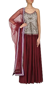 Grey Beads Embroidered Camisole Top with Maroon Skirt by Shasha Gaba