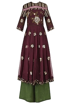 Wine Rose Motifs Tunic with Green Palazzo Pants by Shasha Gaba