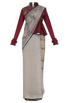 Grey Embroidered Saree with Maroon Blouse by Shasha Gaba