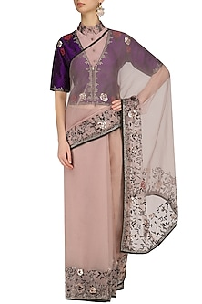 Lavender Pink and Lilac Rose Saree with Purple Blouse by Shasha Gaba