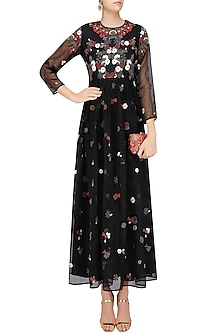 Black Valentine Floral Embroidered Dress by Shasha Gaba