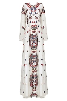White Valentine Floral Embroidered Dress by Shasha Gaba