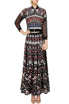 Black Floral Embroidered Bomber Jacket and Lehenga Skirt Set by Shasha Gaba