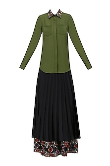 Olive Green Embroidered Shirt and Black Knee Length Skirt Set by Shasha Gaba