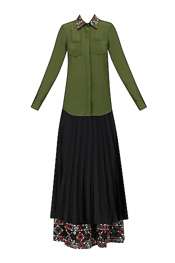 Olive Green Embroidered Shirt and Black Knee Length Skirt Set by Shasha Gaba