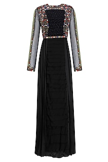 Black Resham Embroidered Long Dress by Shasha Gaba