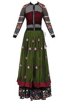 Black Embroidered Bomber Jacket, Bustier and Green Lehenga Skirt Set by Shasha Gaba