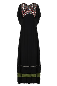 Black Resham Thread Embroidered Flared Dress by Shasha Gaba