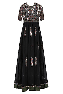 Black Geometric Pattern Glass Beads Embroidered Dress by Shasha Gaba