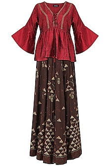 Brown Embroidered Lehenga with Red Kaftan Style Blouse by Shasha Gaba