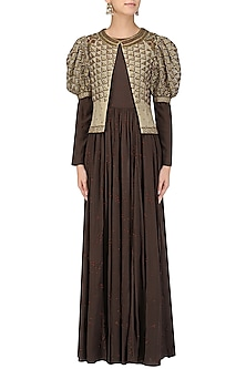 Brown Embroidered Pleated Anarkali with Nude Short Jacket by Shasha Gaba