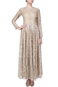 Nude Tonal Floral Thread And Sequins Embroidered Valentine Dress by Shasha Gaba