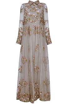 Grey Tonal Floral Thread And Sequins Embroidered Valentine Collared Dress by Shasha Gaba