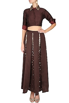Maroon, Gold And Green French Knots And Sequins Embroidered Crop Top And Lehenga Set by Shasha Gaba