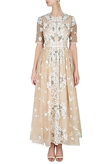Nude And Ecru Floral 3D Embroidered Motifs Flared Dress by Shasha Gaba