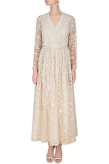 Nude And Ecru Floral Resham Embroidered Flared Dress by Shasha Gaba