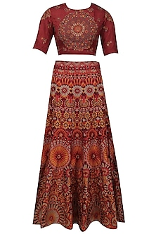 Red and maroon shaded mosaic embroidered lehenga set by Shasha Gaba