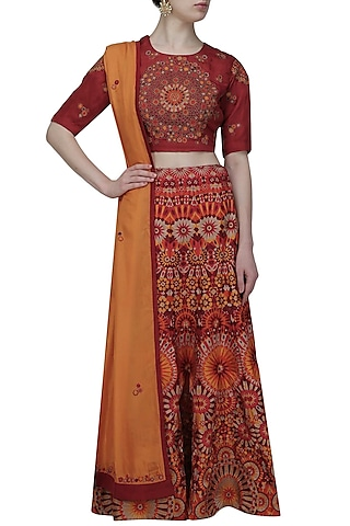 Red and maroon shaded mosaic embroidered lehenga set by Shasha Gaba