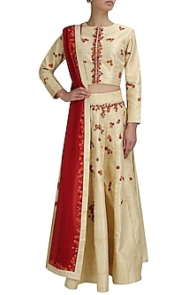 Beige and red mosaic applique work lehenga set by Shasha Gaba